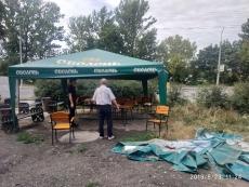 На  вул. Д.Лук'яновича,  демонтовано тимчасову споруду – літній майданчик